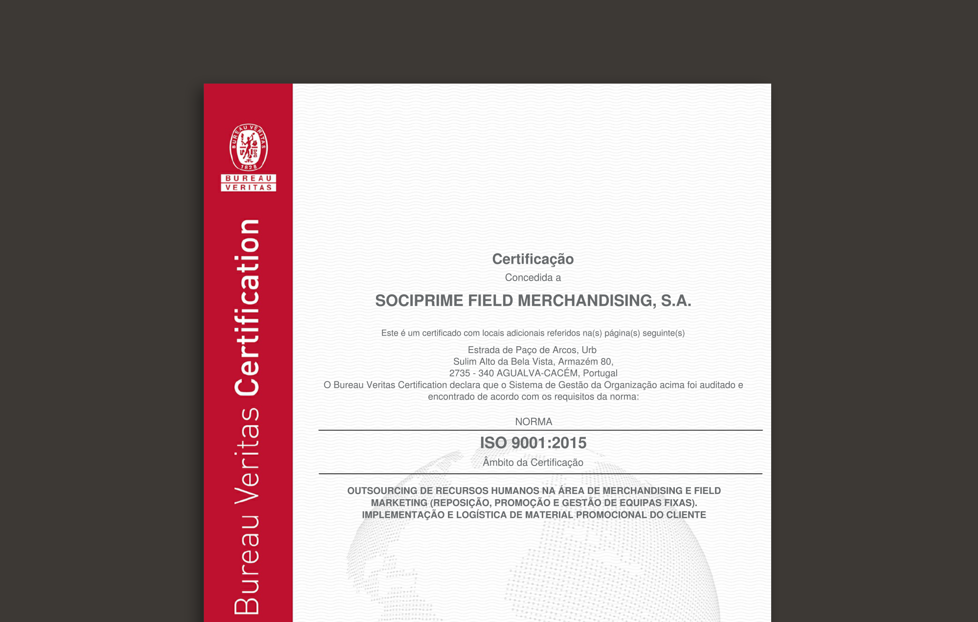 Sociprime Certification ISO 9001:2015
