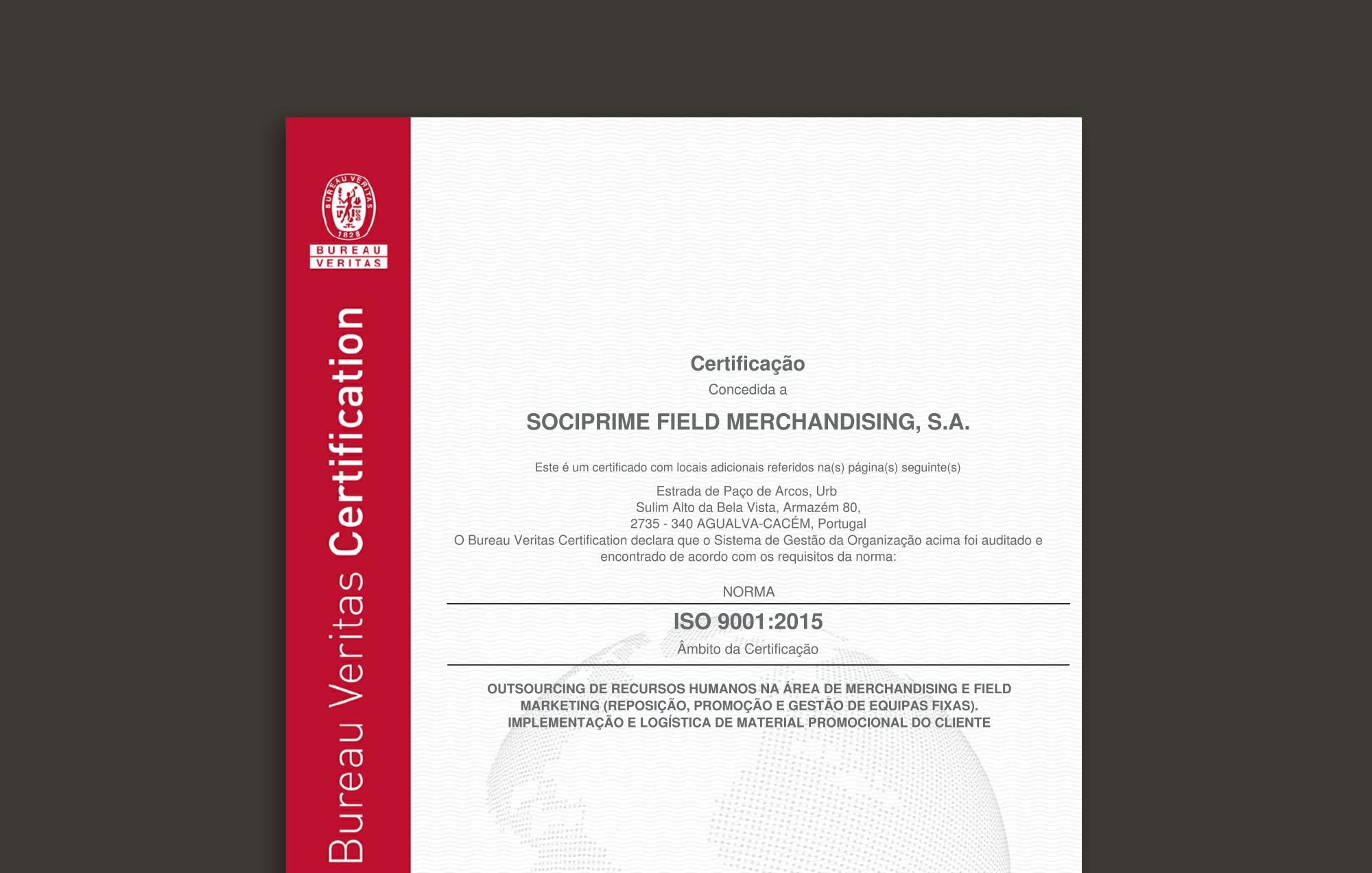 Sociprime obteve Certificação ISO 9001:2015